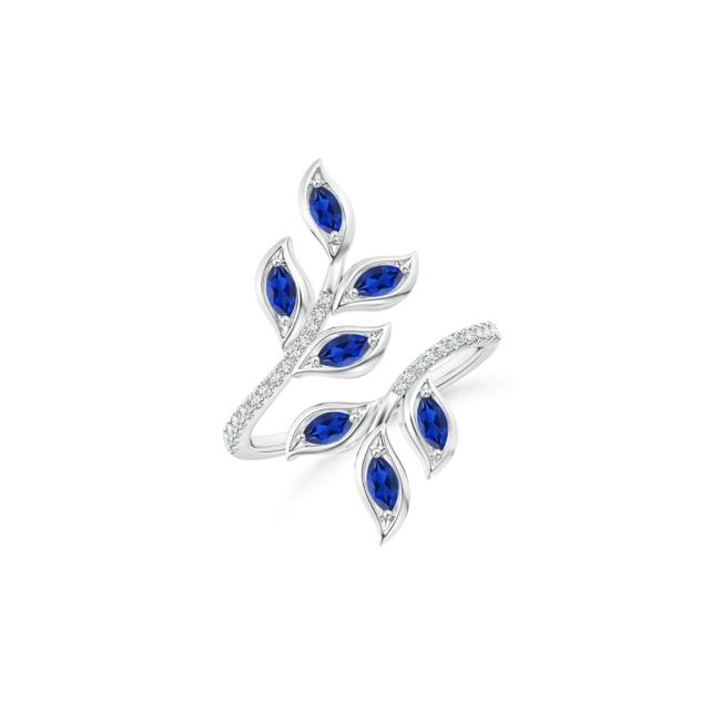 Item - 14kwhite Gold 1.00ct Marquise Sapphire Olive Leaf Ring