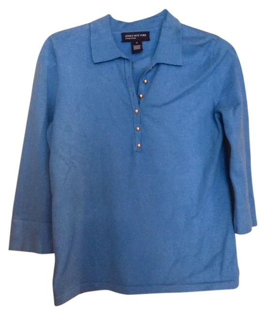 Jones New York Wedgewood Blue Button Front Knit Blouse Size 4 (S) Jones New York Wedgewood Blue Button Front Knit Blouse Size 4 (S) Image 1