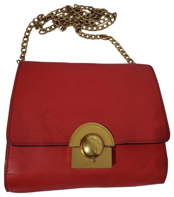 Item - Nappa Gaufre Red Leather Cross Body Bag