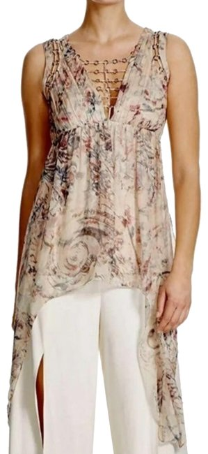 Item - Multicolored Floral Runway Sleeveless Blouse Size 2 (XS)