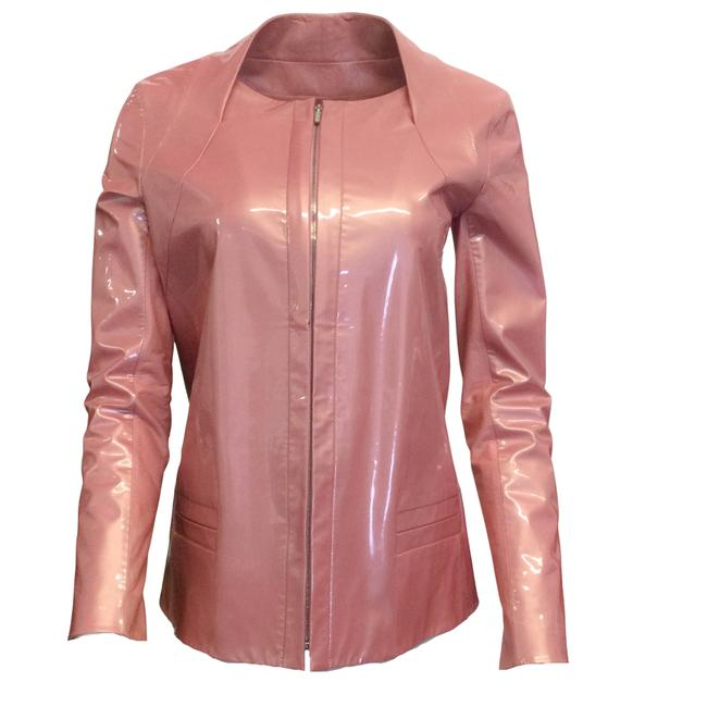 Item - Pink Patent and Lambskin Leather Zip Jacket Size 6 (S)