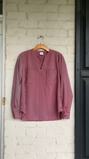 Item - Red/Navy/White Franklin #5335 Blouse Size 6 (S)