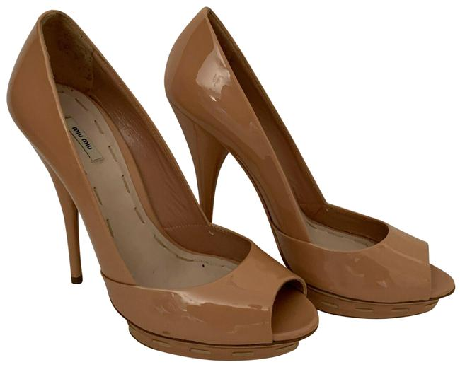 Item - Beige Stunning Stitched Patent Leather Or 6.5 Pumps Size EU 36.5 (Approx. US 6.5) Regular (M, B)