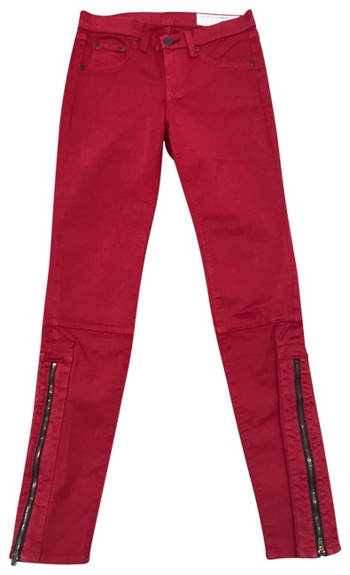 Item - Red And Denim Skinny Jeans Size 0 (XS, 25)