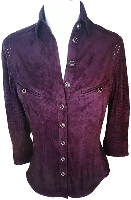 """Item - Maroon/Wine Faux Suede 3/4"""" Sleeve Blouse Size 8 (M)"""