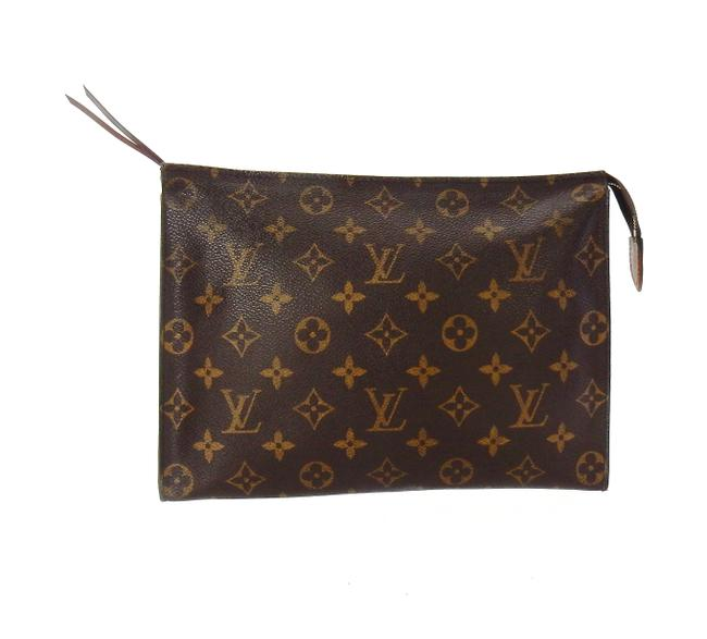 Item - Brown Toiletry Pouch Monogram Canvas and Leather 26 Cosmetic Bag