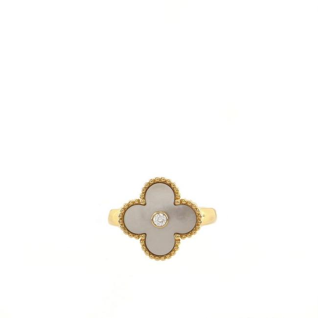 Item - 18k Yellow Gold Vintage Alhambra with Mother Of Pearl and Diamond Ring