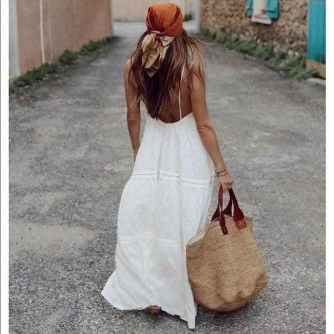 Item - White Textured Long Casual Maxi Dress Size 8 (M)