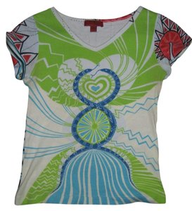 BCBGMAXAZRIA Bcbg Cotton Sea Horse Summer T Shirt Green and blue