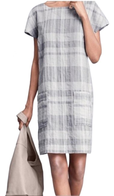 Item - Gray White Airy Organic Linen Blend Mid-length Short Casual Dress Size 0 (XS)