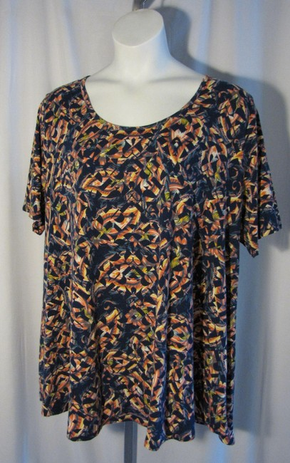 Item - Blue 3xl Perfect Navy Coral Patterned Tee Shirt Size 26 (Plus 3x)