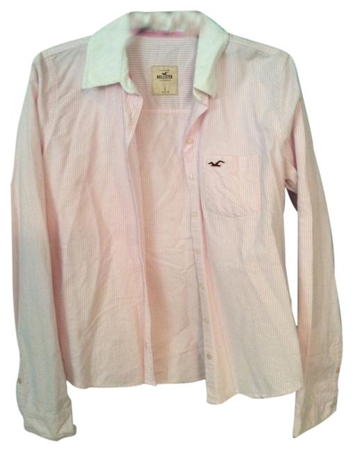Hollister Button Down Shirt Pink and white