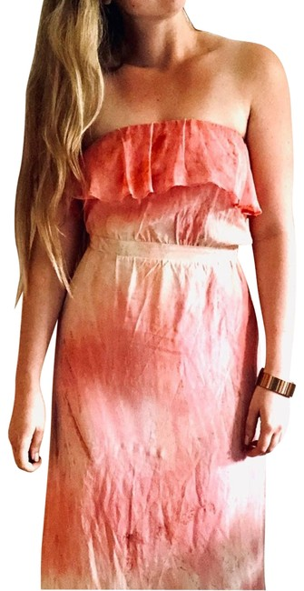 Item - Pink Tie Dye Ruffle Strapless Max Casual Maxi Dress Size 4 (S)
