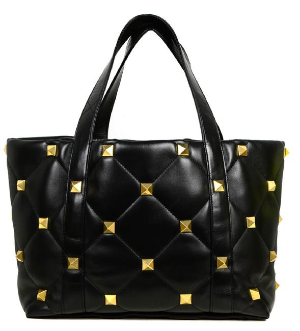 Item - Bag Roman Large Stud Quilted Black Leather Tote