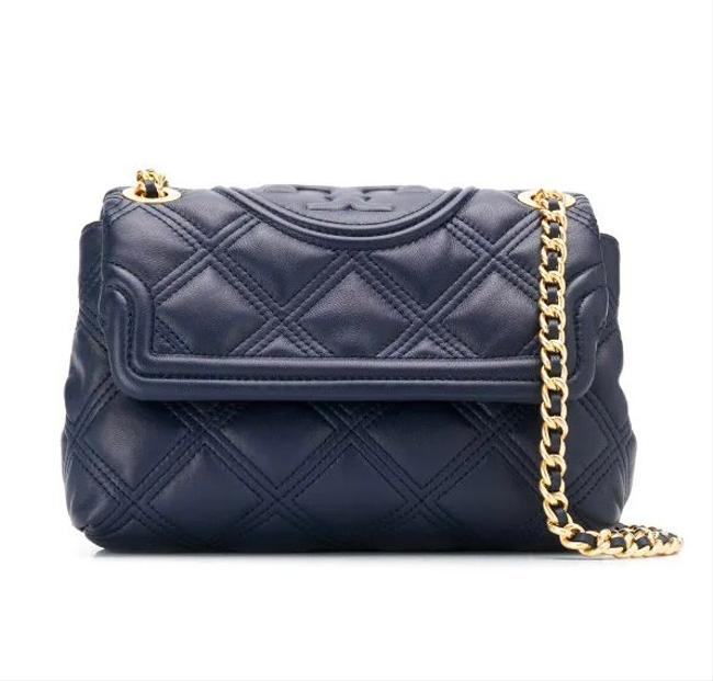 Item - Fleming Small Quilted Convertible Navy Blue Lambskin Leather Shoulder Bag