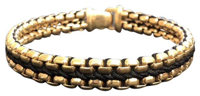 Item - Yellow Gold Box Woven Chain Black with 18k Bracelet