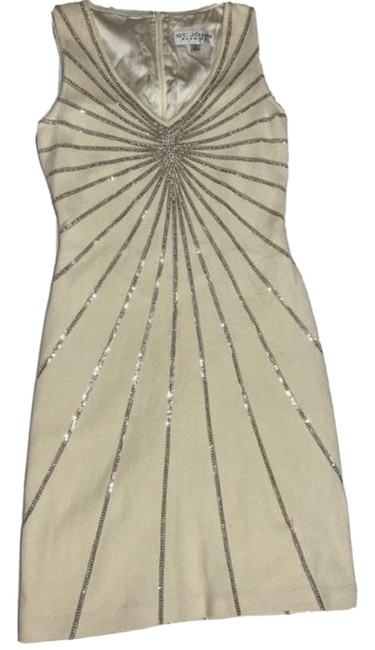 Item - Off White Evening with Silver Sequins Short Cocktail Dress Size 2 (XS)
