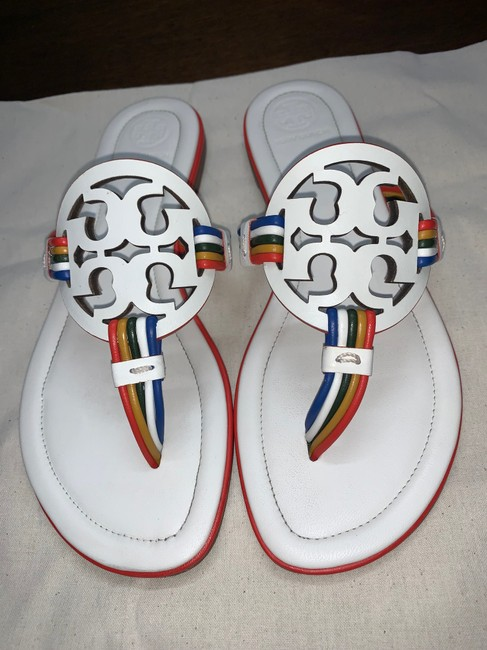 Tory Burch New Ivory/Multi Mignon Miller Calf Leather Sandals Size US 7 Regular (M, B) Tory Burch New Ivory/Multi Mignon Miller Calf Leather Sandals Size US 7 Regular (M, B) Image 2