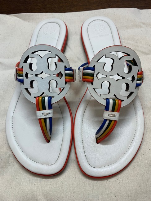 Tory Burch New Ivory/Multi Mignon Miller Calf Leather Sandals Size US 7 Regular (M, B) Tory Burch New Ivory/Multi Mignon Miller Calf Leather Sandals Size US 7 Regular (M, B) Image 7
