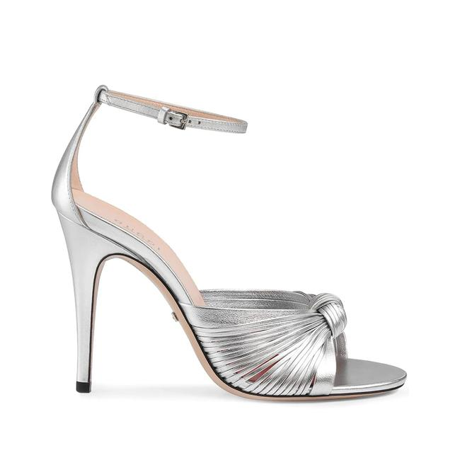 Item - Silver 'crawford 105' Knotted Leather Heels Metallic Sandals Size EU 35 (Approx. US 5) Regular (M, B)