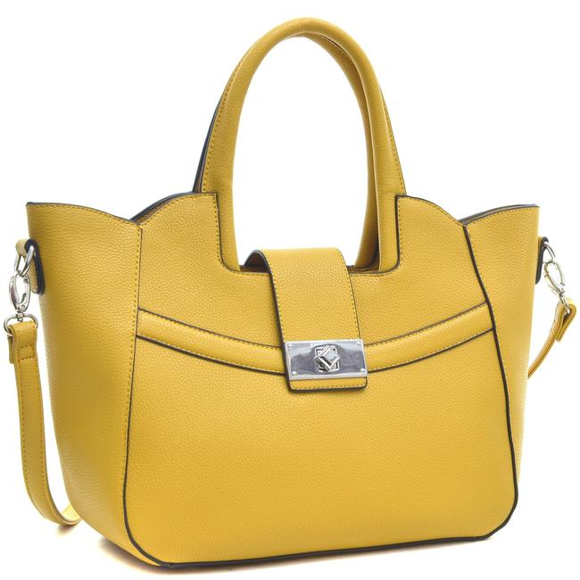Item - W Fold-over Winged W/ Shoulder Strap Yellow Faux Leather Satchel