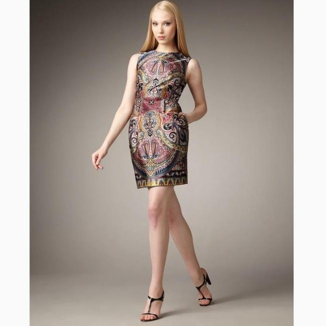 Item - Multicolor Paisley Gotham Stakes Silk Short Cocktail Dress Size 0 (XS)