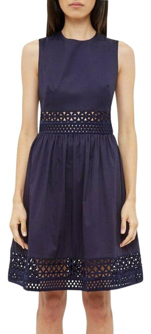 Item - Navy Blue Fit and Flare Mid-length Work/Office Dress Size 2 (XS)