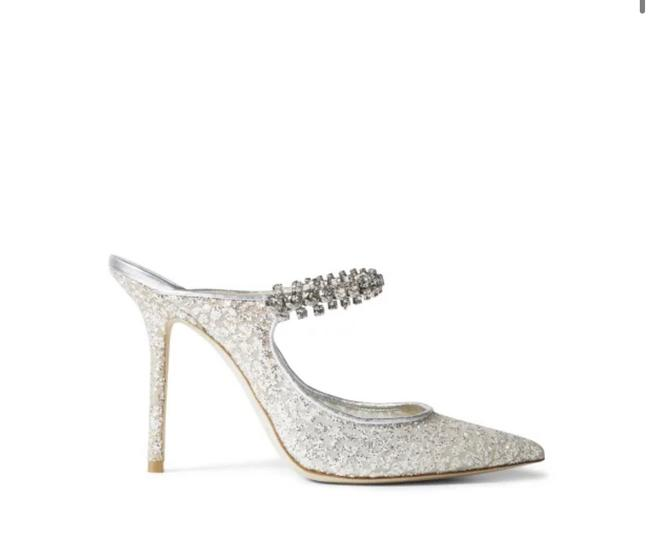 Item - Silver Glitter Tulle Mules with Crystal Strap Bing 100 Formal Size US 9 Regular (M, B)