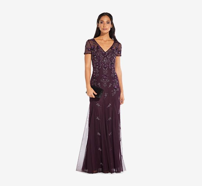 Item - Night Plum Beaded Godet Gown with Sheer Short Sleeves Long Formal Dress Size 8 (M)