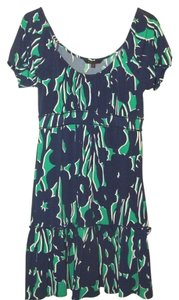 BCBGMAXAZRIA short dress Blue/Green/White Peasant Boho Stretch on Tradesy