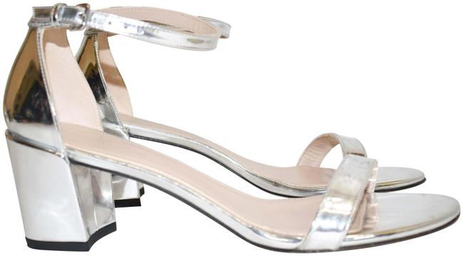 Item - Silver Simple Ankle Strap Chunky (Se34) Sandals Size US 8.5 Regular (M, B)