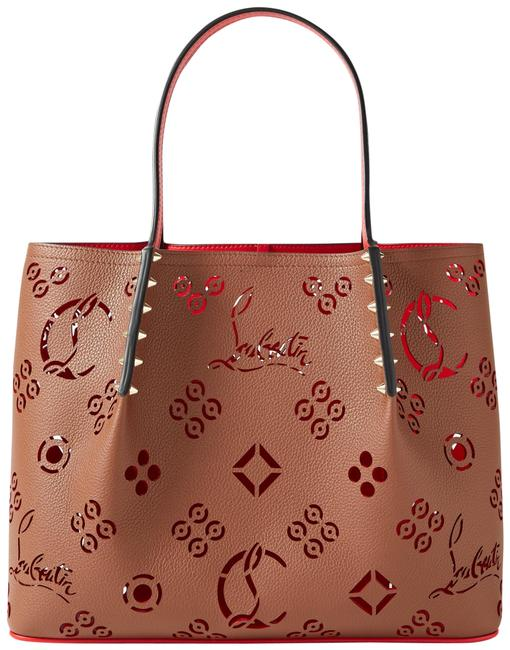 Item - Cabarock Loubinthesky Small Spiked Laser-cut Tan Textured-leather Tote