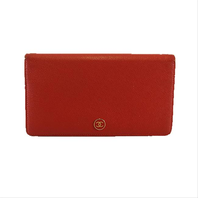 Item - Red Color Long Coco Button Bifold Women's Leather (Bi-fold) Wallet