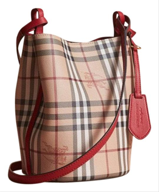 Item - Bucket Leather and Haymarket Check Poppy Red Cross Body Bag