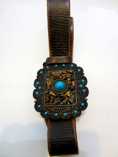 Streets Ahead Handcrafted Unique Streets Ahead Designer Vintage Geniune Leather Brown Belt with Ornate Buckle