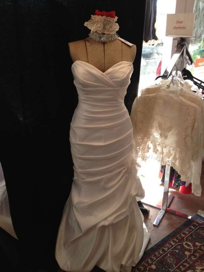 Mikaella Bridal Soft White Satin Ruched Sweetheart Fit