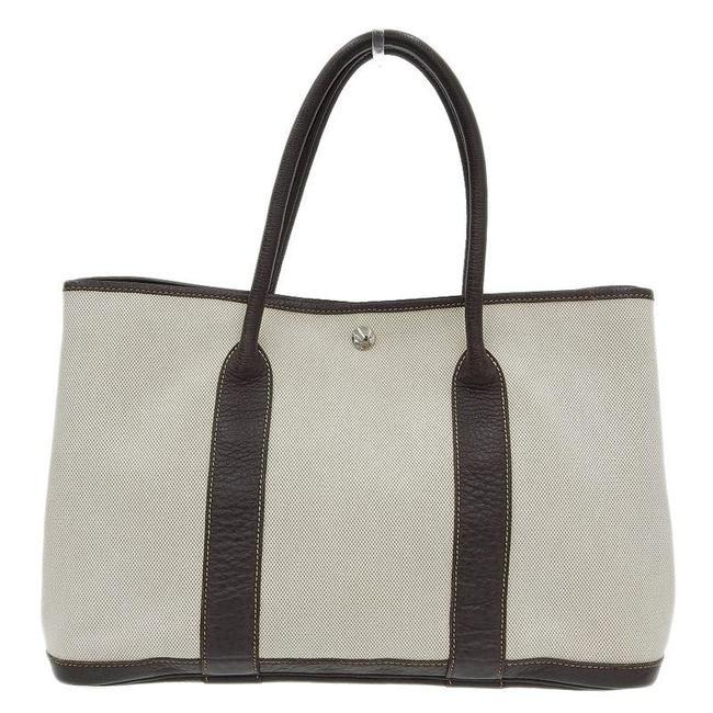 Item - Garden Party Pm Handbag Toile Gm □ G Engraved Brown / White Leather Satchel