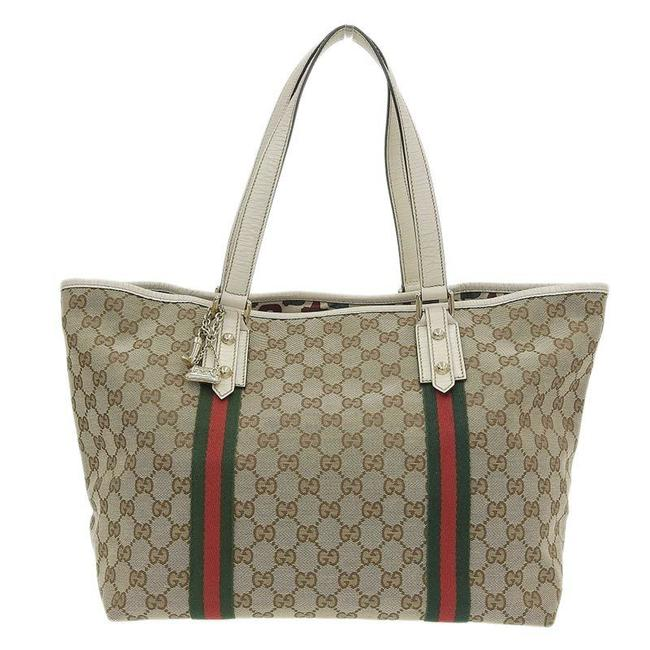 Item - Bag Sherry X 139260 Brown / White Gg Canvas / Leather Tote