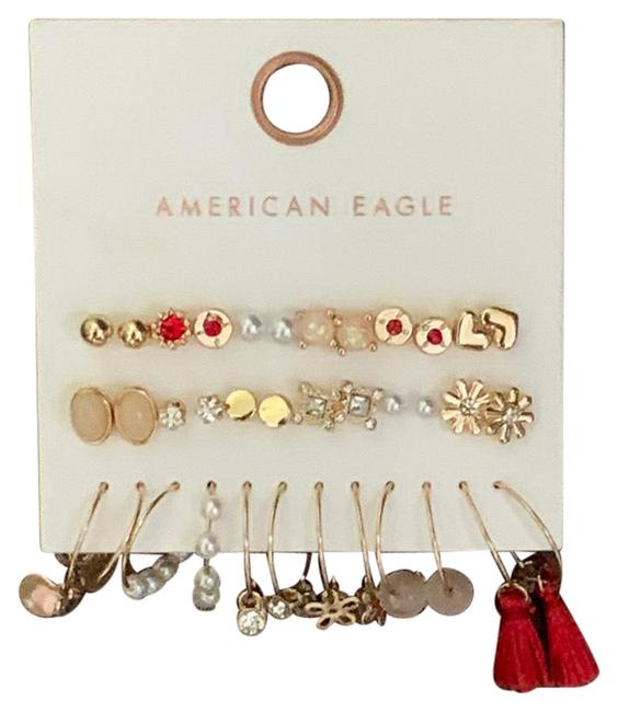 Item - Gold and Red Set Earrings