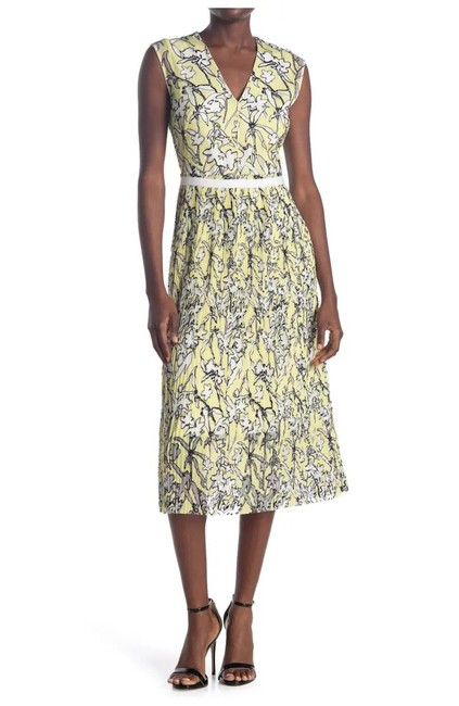 Item - Yellow/Black/White Damune Floral Pleated Midi Mid-length Work/Office Dress Size 2 (XS)