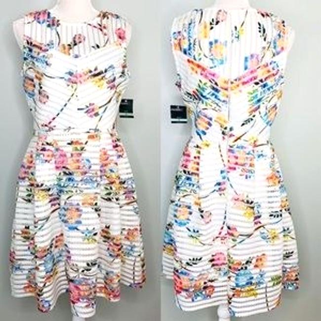 Item - Cream Scuba New Fit & Flare Ivory Pink Floral Mesh Lace Short Cocktail Dress Size 8 (M)