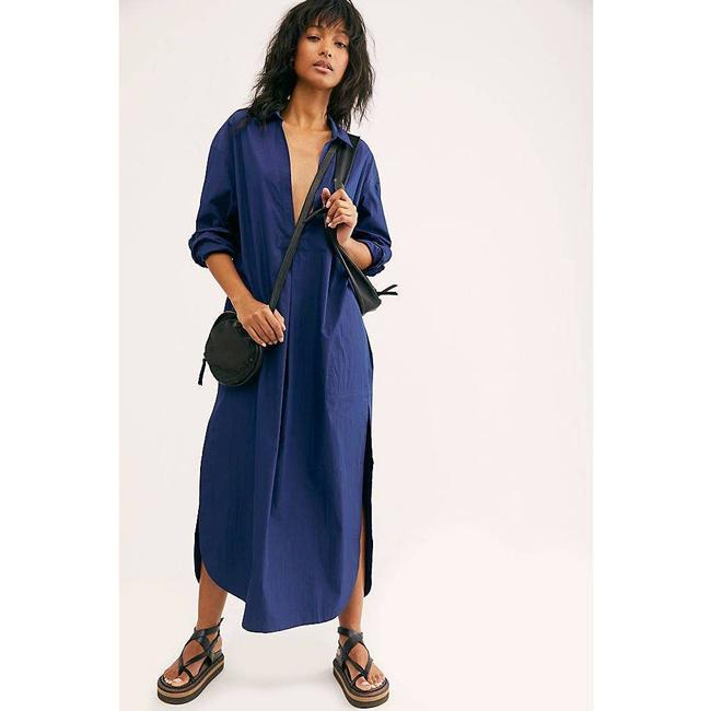 Item - Navy Blue New Eva Plunging Pleated Shirt Long Casual Maxi Dress Size 6 (S)