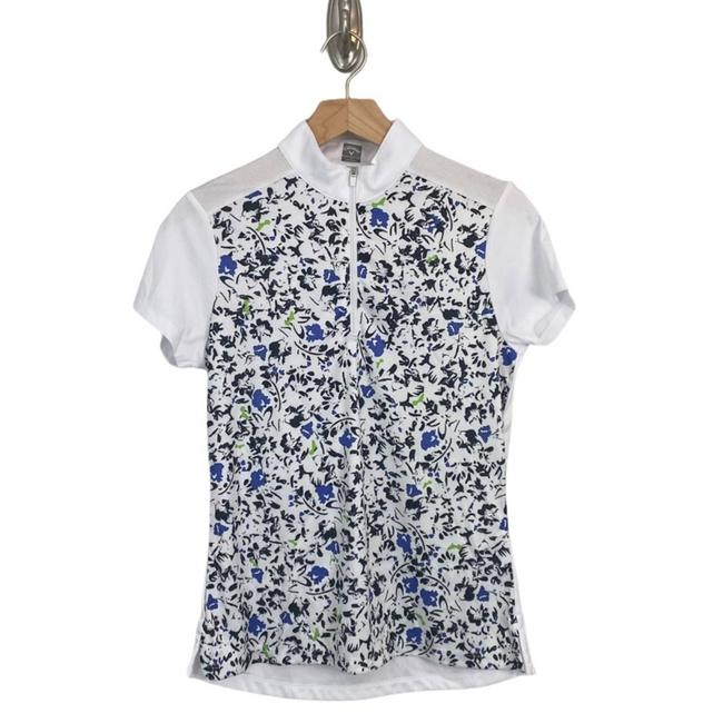 Item - White Womens Golf with Floral Print Sleeved Tee Shirt Size 6 (S)