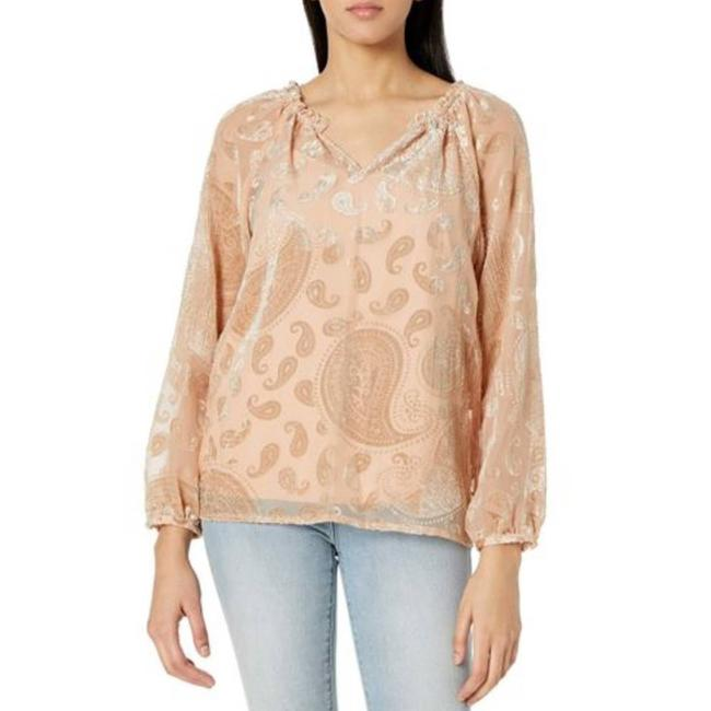 Item - Tan Textured Paisley Pale Gold S Blouse Size 6 (S)