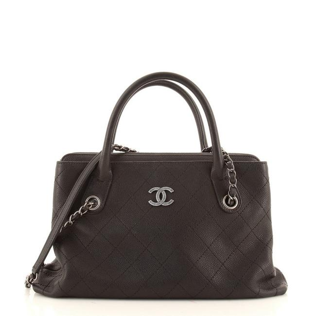 Item - Shopping Urban Quilted Caviar Small Black Leather Tote