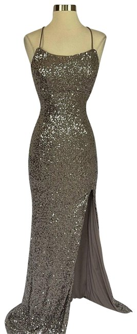 Item - Brown Women's Taupe Silver Sequin Backless Gown Long Formal Dress Size 10 (M)
