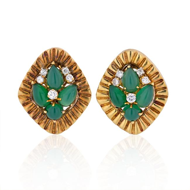 Item - Yellow Gold Vintage Green Cabochon and Diamond Clip Earrings