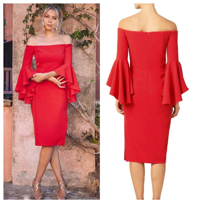Item - Red Selena Cady Mid-length Cocktail Dress Size 14 (L)