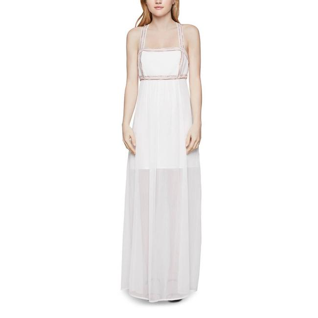 Item - White Women's Maxi Embroidered Chiffon Long Cocktail Dress Size 8 (M)