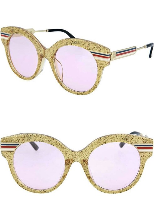 Item - Pink Yellow Gilitter Rounded Cat Eye Sunglasses